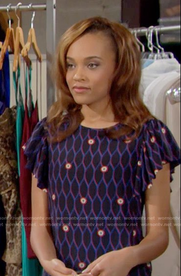 Nicole's geometric patterned top on The Bold and the Beautiful