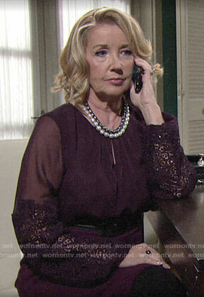 Nikki's purple blouse with lace sleeves on The Young and the Restless