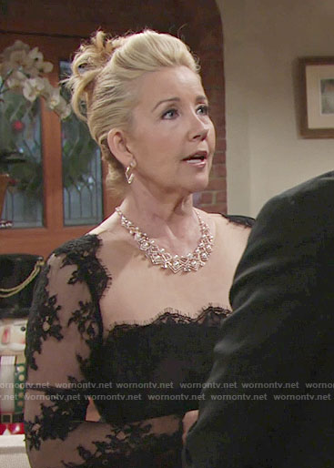 Nikki's black lace sleeve gown on The Young and the Restless