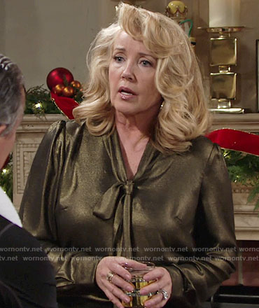 Nikki's gold tie neck blouse on The Young and the Restless