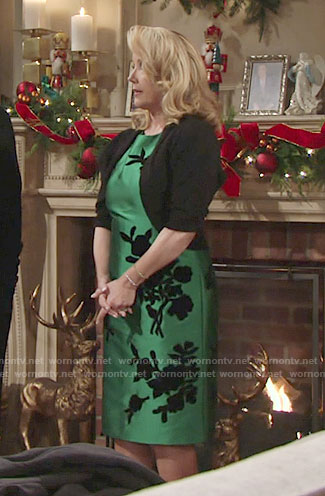 Nikki's green floral dress on The Young and the Restless