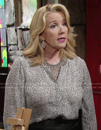 Nikki's white leopard print blouse on The Young and the Restless