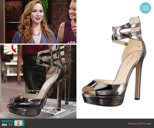 Nine West Voretta Platform Pump in Pewter worn by Camryn Grimes on The Young & the Restless