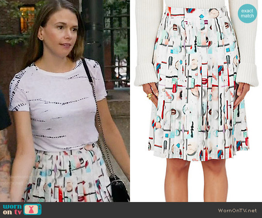 Opening Ceremony High Gloss Pleated Skirt worn by Sutton Foster on Younger