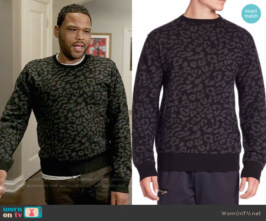 Ovadia & Sons Leopard Crewneck Merino Wool Sweater worn by Anthony Anderson on Blackish