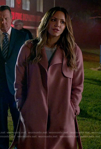 Paige's pink coat on Scorpion
