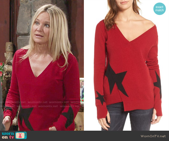 Pam & Gela Star Asymmetrical Sweater worn by Sharon Collins (Sharon Case) on The Young & the Restless