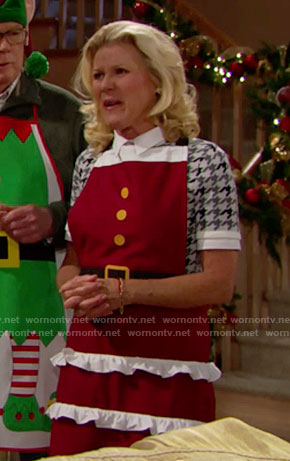 Pam's houndstooth top and Mrs Claus apron on The Bold and the Beautiful
