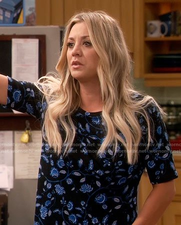 Penny's blue floral top on The Big Bang Theory