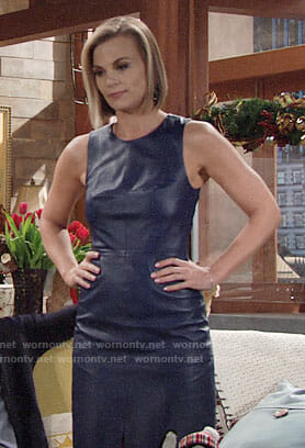 Phyllis's blue leather dress on The Young and the Restless