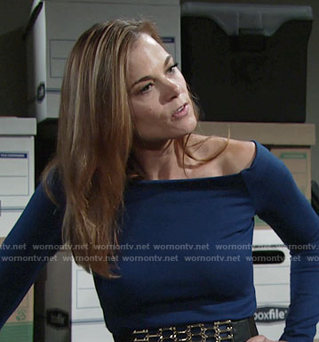 Phyllis's blue off-shoulder top and crystal necklace from Billy on The Young and the Restless