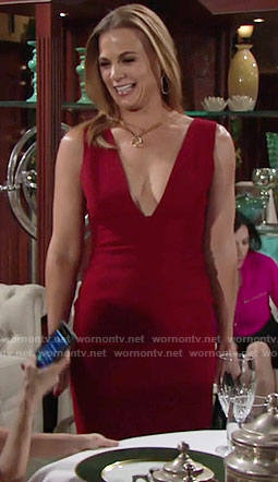 Phyllis's red plunge neck dress on The Young and the Restless