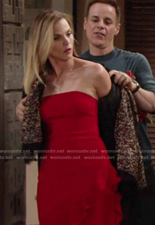 Phyllis's red strapless ruffled dress on The Young and the Restless