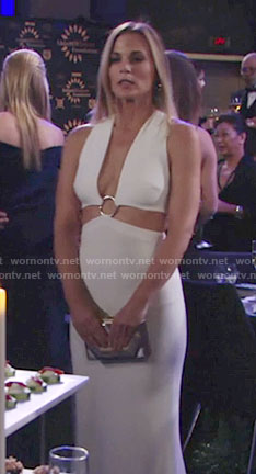 Phyllis's white ring detail gown on The Young and the Restless