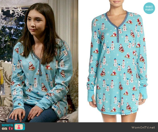 PJ Salvage Thermal Knit Sleep Shirt in Aqua Snowmen worn by Rowan Blanchard on Girl Meets World