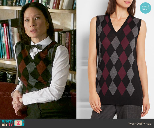 Prada Argyle Wool Top worn by Lucy Liu on Elementary
