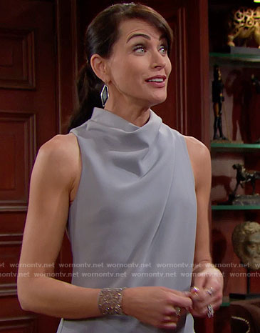 Quinn's grey draped dress and black earrings on The Bold and the Beautiful