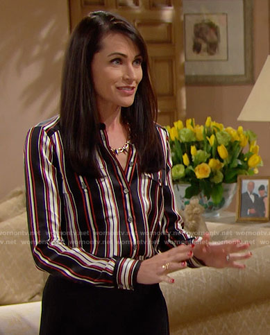 Quinn's black and red vertical striped blouse and spiked necklace on The Bold and the Beautiful