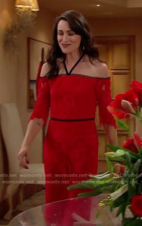 Quinn's red lace jumpsuit on The Bold and the Beautiful