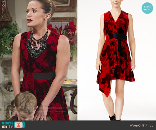 RACHEL Rachel Roy Draped Velvet Fit & Flare Dress worn by Melissa Claire Egan on The Young & the Restless