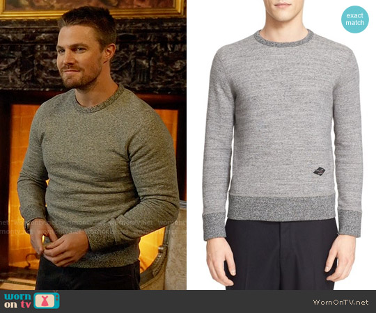 Rag & Bone Jaspé Sweatshirt worn by Stephen Amell on Arrow
