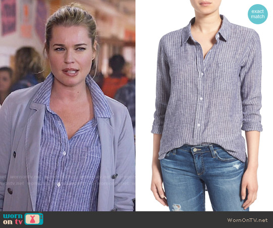 Rails Charli Stripe Linen Blend Shirt worn by Rebecca Romijn on The Librarians