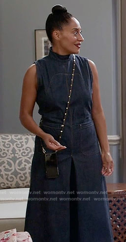 Rainbow's denim jumpsuit on Black-ish