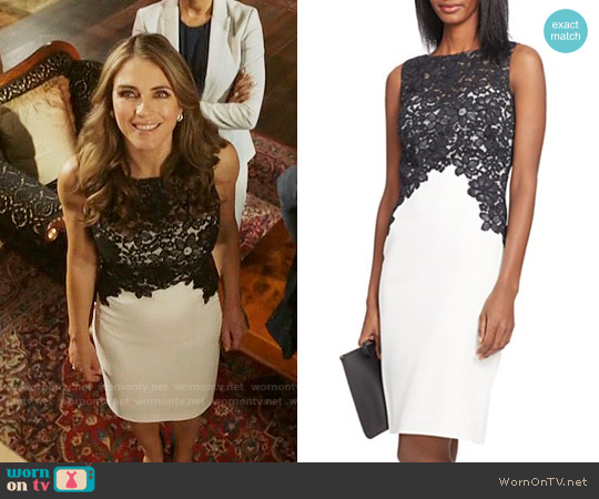 LAUREN Ralph Lauren Lace Bodice Color-Blocked Dress worn by Elizabeth Hurley on The Royals