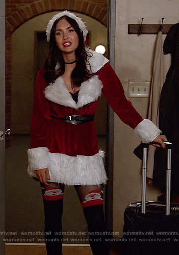 Reagan's Santa jacket and Santa tights on New Girl