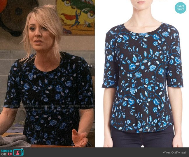 Rebecca Taylor Kyoto Floral Linen Jersey Top worn by Penny Hofstadter (Kaley Cuoco) on The Big Bang Theory