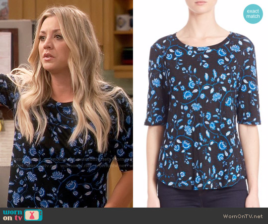 Rebecca Taylor Kyoto Floral Linen Jersey Top worn by Kaley Cuoco on The Big Bang Theory