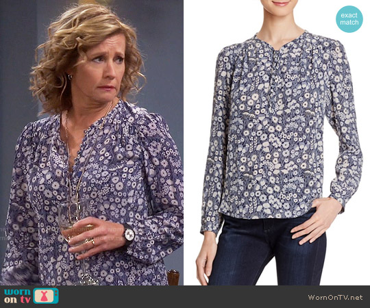 Rebecca Taylor Laine Floral Print Silk Blouse worn by Nancy Travis on Last Man Standing