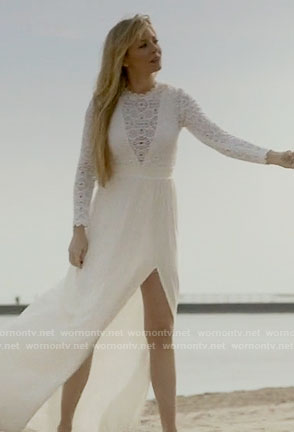 Rhonda's white lace long sleeved maxi dress on Empire