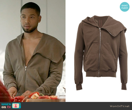 Rick Owens Zip Up Asymmetric Hoodie worn by Jussie Smollett on Empire