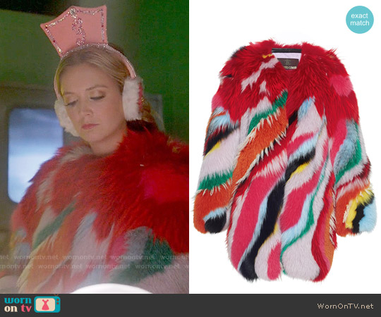 Roberto Cavalli Striped Intarsia Fur Coat worn by Billie Lourd on Scream Queens