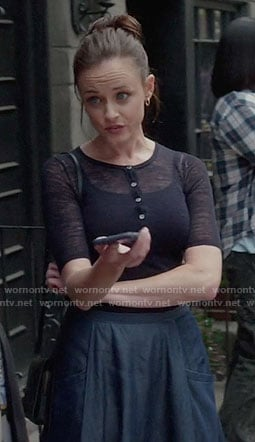 Rory's navy henley top and denim skirt on Gilmore Girls: A Year in the Life