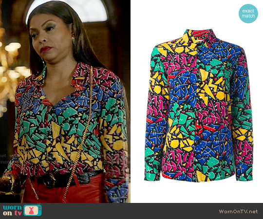 Saint Laurent Paris Collar 80s Graffiti Shirt worn by Taraji P. Henson on Empire