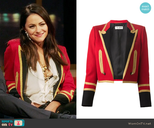 Saint Laurent Spencer Officer Jacket worn by Princess Eleanor (Alexandra Park) on The Royals
