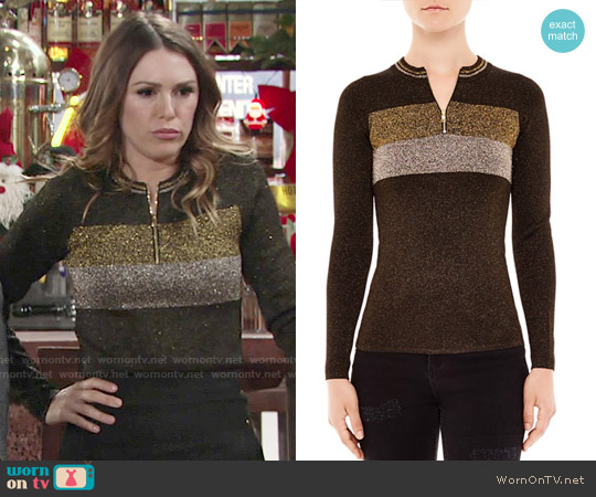 Sandro Dora Shimmer Knit Sweater worn by Elizabeth Hendrickson on The Young & the Restless