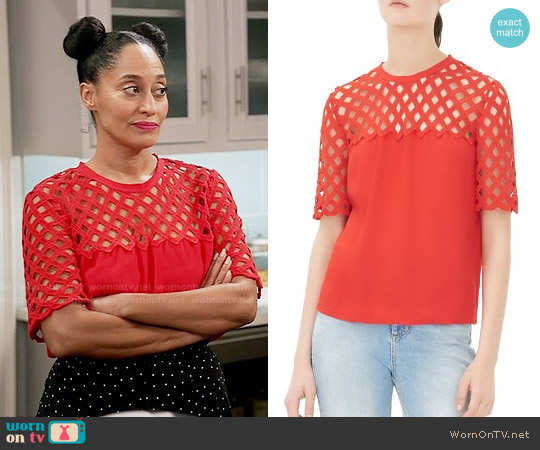 Sandro Edge Lattice Top worn by Tracee Ellis Ross on Blackish