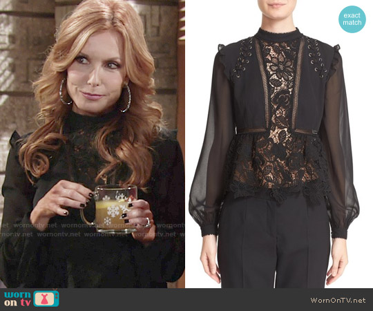 Self Portrait Lace Detail Top worn by Tracey Bregman on The Young & the Restless