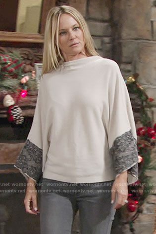 Sharon's lace trim sweater on The Young and the Restless