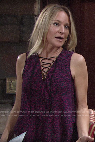 Sharon's purple lace-up top on The Young and the Restless