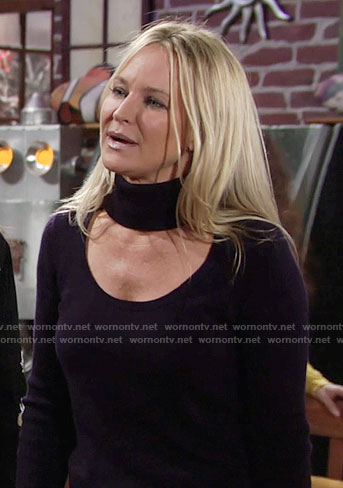 Sharon's navy cutout turtleneck sweater on The Young and the Restless