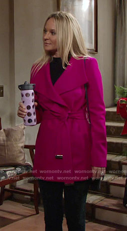 Sharon's pink belted coat on The Young and the Restless