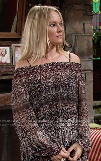 Sharon's printed off-shoulder top on The Young and the Restless