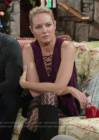 Sharon's purple lace-up top and herringbone tights on The Young and the Restless
