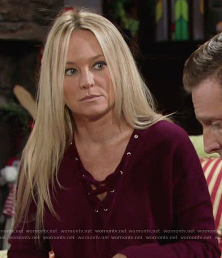 Sharon's purple lace-up sweater on The Young and the Restless