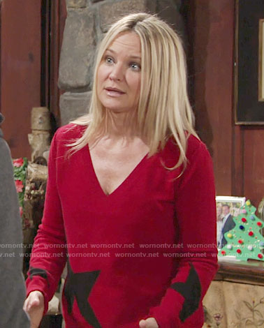 Sharon's red star print sweater on The Young and the Restless