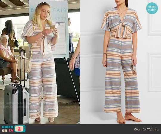Striped and Solid The Tie cutout striped basketweave cotton jumpsuit worn by Kelsey Peters (Hilary Duff) on Younger